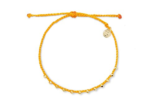Pura Vida Gold Stitched Beaded Anklet in Tangerine Seafoam - Wax Coated String, Adjustable Band from Pura Vida