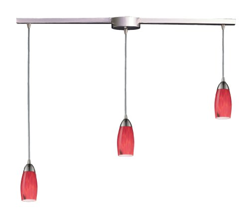 - Elk 110-3L-FR 3-Light Pendant In Satin Nickel and Fire Red Glass