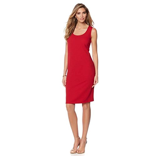 Slinky Brand 2pk Short Solid Tank Dresses Stretchy Chic Red Royal L New 549-015