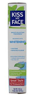 Kiss My Face Toothpaste Whitening Cool Mint 4.5oz(Flouride-Free) (6 Pack)
