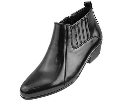 Bolano Men's Smooth Double Gore Western Style Low Cut Dress Boot, Style Bota Black -