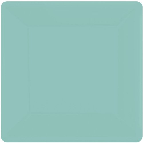 Amscan 64020.121 Square Paper, Robin's-Egg Blue Plates, 20 Pieces, ()