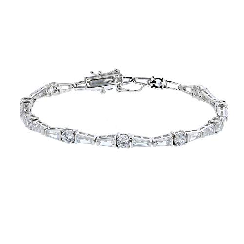 Decadence Women's Sterling Silver Tap Baguette and Round Cut Tennis Bracelet, 7