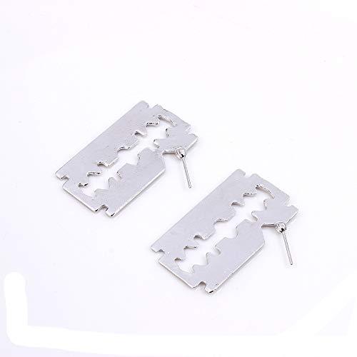 (WLLAY Vintage Gold Silver Razor Blade Dangle Earrings for Women Geometric Hollow Metal Punk Earring Jewelry Gift (Silver))