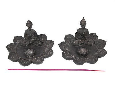 1pce 8cm Thai Style Buddha on a Lotus Flower Incense Holder Grey Colour Resin by asah