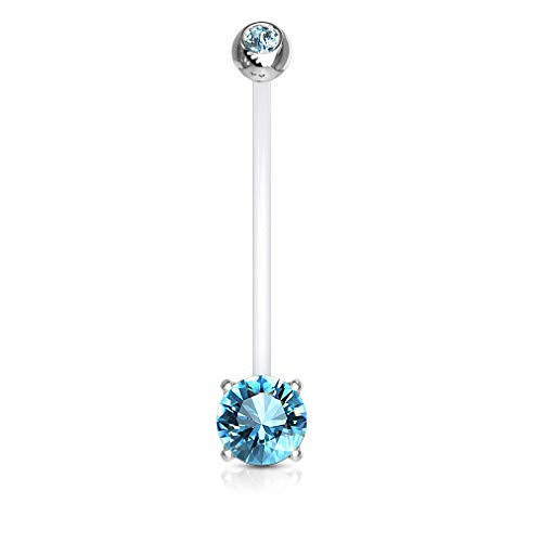 Belly Button Bioflex - Pierced Owl Double Jeweled Prong Set Round CZ Crystal Pregnancy Maternity Bioflex Belly Button Navel Ring (Aqua)