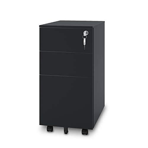 2 Metal Drawer Pedestal - DEVAISE 3-Drawer Metal File Cabinet with Lock, Mobile Pedestal in Black