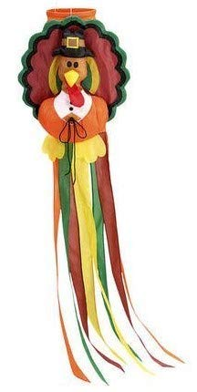 HTF Thanksgiving Turkey Pilgrim Windsock Large 50'' Long Indoor Outdoor Decoration by HTF