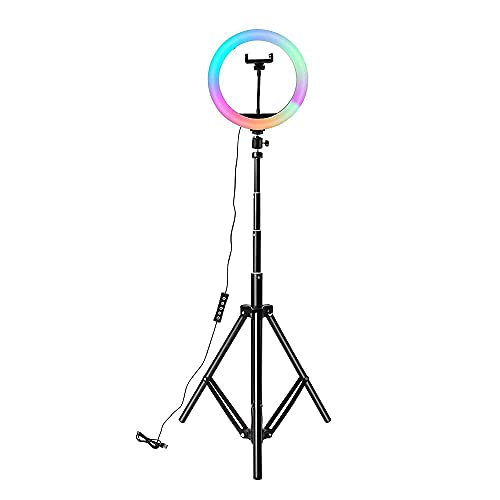 """BACKET MJ26 10"""" RGB Desktop Soft LED Ring Light 16 RGB Colors with 7 Feet Tripod Stand for YouTube Photo-Shoot Makeup Compatible with All iOS/All Android Phones & Cameras Multicolor Ring Light"""