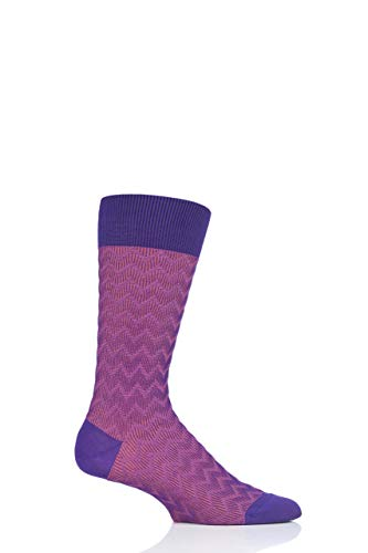 Pantherella Mens Corbusier Shadow Rib Zig Zag Cotton Socks Pack of 1 Crocus ()
