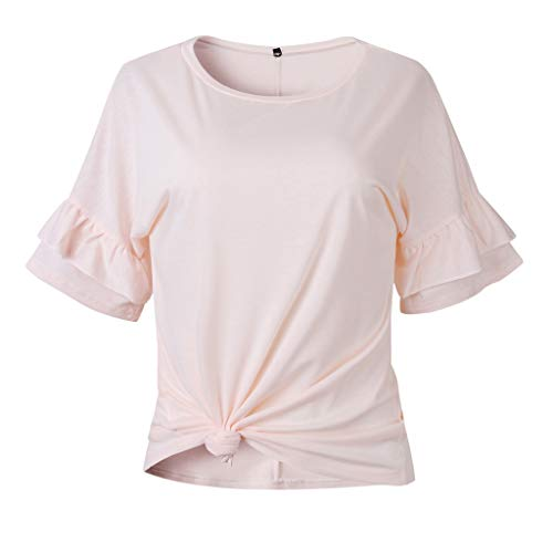 Sinfu Women's Summer Casual Blouse Cami Tops Round Neck Double Ruffled Short Sleeve Knotted T-Shirt (M, Pink)