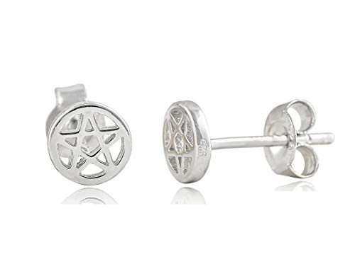 Pentagram Star Stud Earrings Sterling Silver - -