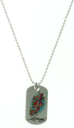 Ed Hardy Death Before Dishonor Color Print Dog Tag in Stainless (Ed Hardy Dog Tag)