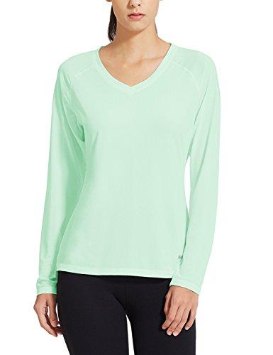 Baleaf Women's V-Neck Long Sleeve Mesh Running Shirts Aqua Size (Aqua Long Sleeve Shirt)