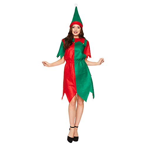 Santa Elf Dress Costume - Christmas Holiday North Pole Cosplay, M Red, Green]()