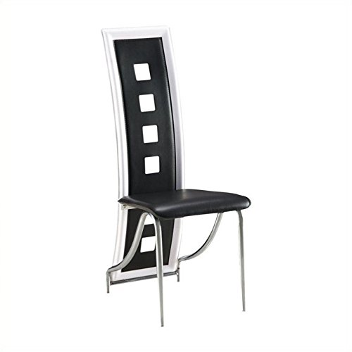 (Global Furniture USA D803DC-BL-Global Furniture Piece Dining Chair Black W/White Trim)
