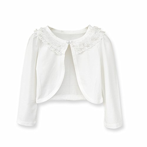 (Sinmoocy Little Girls' Long Sleeve Lace Bolero Shrug Cardigan Ivory White Size 2T)