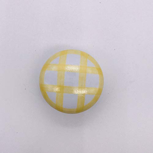 (Kasuki Top sale Dresser Knobs Round Colored Ceramic Drawer Pulls for Kids Simple Plaid pattern Door Cabinet Handles Funiture Hardware - (Color: Yellow))