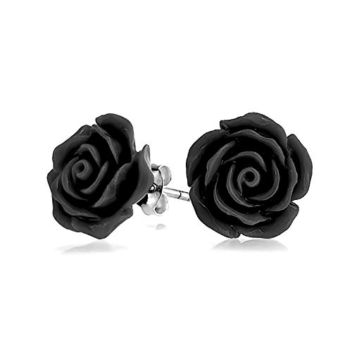 3D Craved Black Rose Flower Stud Earrings For Women For Teen For Mother Silver Plated Post