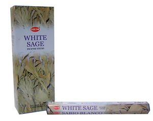 WHITE SAGE INCENSE STICKS (6 PACKS=120 STICKS) in a Box WITH STICK HOLDER BY STERLING EFFECTZ