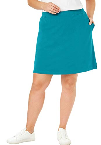 - Woman Within Women's Plus Size Stretch Cotton Skort - Deep Turquoise, 2X