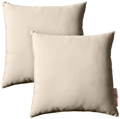 Modway Summon 2 Piece Outdoor Patio Pillow Set With Sunbrella Brand Antique Beige Canvas Covers