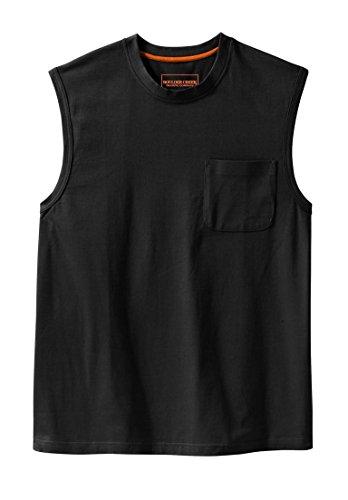 KingSize Men's Big & Tall Heavyweight Cotton Muscle Shirt With Pocket, Black - Mens Sleeveless Pocket