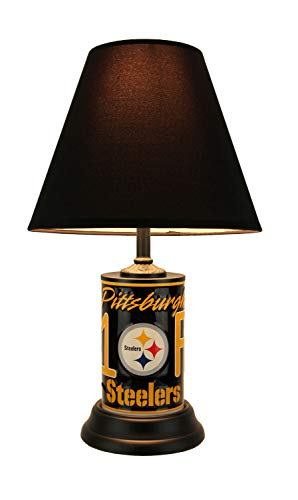 Team Black Shade Lamps Logo - NFL Pittsburgh Steelers Number 1 Fan License Plate Lamp with Fabric Shade