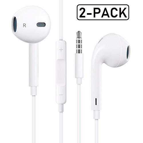 Ipod Compatible Earphones - SKRAARY Earbuds/Headphones/Earphone Compatible with Apple iPhone SE/5S/5C/5/6/6S iPad iPod Android Smartphones 2Pack(White)
