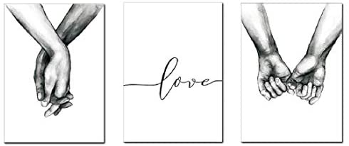 Love and Hand in Hand Wall Art Canvas Print Poster Black and White Sketch Art Line Drawing Decor for Living Room Bedroom (Set of 3 Unframed 16x20 inches)