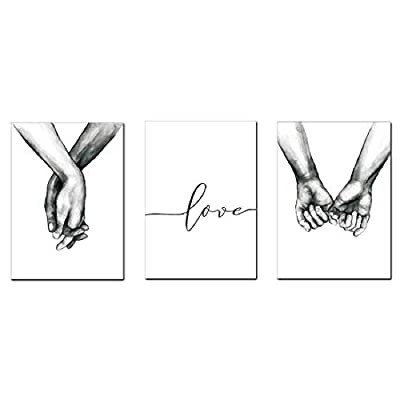 Love and Hand in Hand Wall Art Canvas Print Poster Black and White Sketch Art Line Drawing Decor for Living Room Bedroom (Set of 3 Unframed, 12x16 inches) - WALL ART PRINT POSTER: Canvas unframed Love word and couple holding hands wall decor art print poster, size: 12x16 inches, total 3pcs. It's ready to use with your favorite picture frame to bring instant home decor style into any room in your house. It's also beautiful to hang as a poster with no need for addtional frame DURABLE CANVAS: Our home decor wall art are printed on environment-friendly canvas painting poster. High quality, HD prints on premium Canvas, Waterproof, UV resistant, Fading Resistant Indoor ENHANCE THE BEAUTY OF SPACE: The black and white sketch art line drawing makes the space more harmonious, these minimal art decor can easily help you create a joyful and love atmosphere at home, enhance the beauty of your room with their modern and nordic style look - wall-art, living-room-decor, living-room - 31jgIw6LTBL. SS400  -