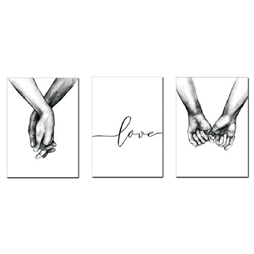 AEVIO Love and Hand in Hand Wall Art Canvas Print Poster Black and White Sketch Art Line Drawing Decor for Living Room Bedroom (Set of 3 Unframed, 12x16 inches)