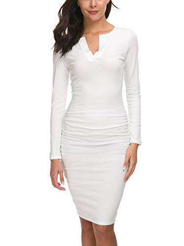 Missufe Women's Cute V Neck Casual Ruched Sundress Sheath Knee Length Bodycon Dress (Long Sleeve White, X-Large)