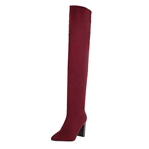 Women Xinantime Boot Boots Boots Heel Ladies High Suede High Lace Knee Up Long Boots Slim Stretch Clearance Platform Sale Ankle Boots Thigh Fashion Red Leather rxPrAXq