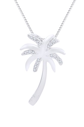 Sterling Silver Diamond Palm Tree Pendant Necklace on an 18 inch Chain