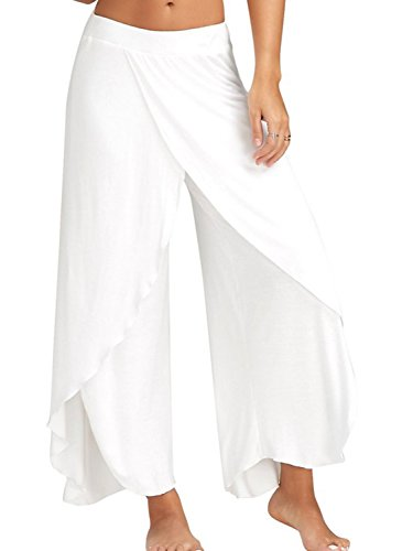 CHOiES record your inspired fashion Choies Women's Stretch High Slit Wide Leg Pants Yoga Flowy Cropped Palazzo Pants ()