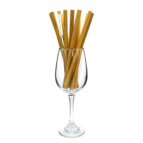 Bamboo straws drinking reusable straws, Biodegradable with Storage bag and Straw Cleaner brush, non plastic Green ECO Friendly, 8 inch length, Pack of 12