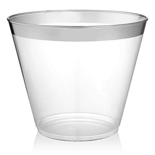 Silver Rimmed Plastic Cups - 9 ounce - 64 Count - Hard Plastic - Disposable or Reusable - Old Fashioned Plastic Tumblers - Wine Cups - Cocktail Glasses - Drinking Cups - Gold Trim Wedding Tumblers