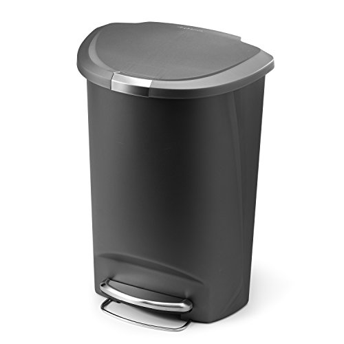 simplehuman Semi-Round Step Trash Can, Grey Plastic, 50 L / 13.2 Gallon