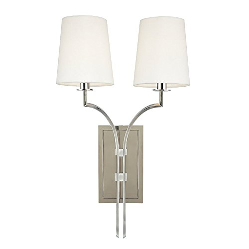 Glenford 2-Light Wall Sconce - Polished Nickel Finish with Off White Faux Silk Shade (Hudson Valley Square Sconce)