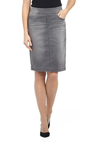 (Rekucci Jeans Women's Ease in to Comfort Fit Pull-on Stretch Denim Skirt (14,Charcoal)