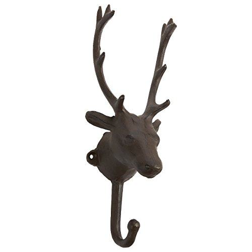 Iron Hook with 1 Peg - Deer Head Shaped Decorative Indoor and Outdoor Hook for Household Items, Clothing, Gardening Tools, DIY (Irons Head)