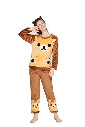 Coofig Womens Long Sleeve Pajamas Set,Warm Cute Flannel Suit Cartoon Thick Sleepwear, Home Nightwear Girls Home Clothing (Brown Bear, - Flat Cartoon Bags