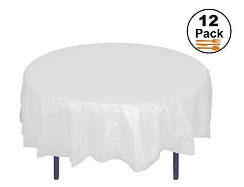 HOMEE 12 Pack Plastic Table Cloths for Party 84 inch Premium Round Table Cover Tablecloth Disposable Table Protector Cover for Party Wedding and Banquet -White