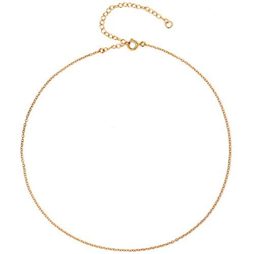 Dainty Thin Chain Choker Necklace for Women Girls - 925 Sterling Silver, 14K Gold Filled, Rose Gold Filled, Adjustable Extender, Delicate Jewelry, Made in USA, 13