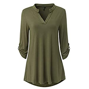 Zattcas Womens Floral Printed Tunic Shirts 3/4 Roll Sleeve Notch Neck Tunic Top (XX-Large, Solid Olive Green)