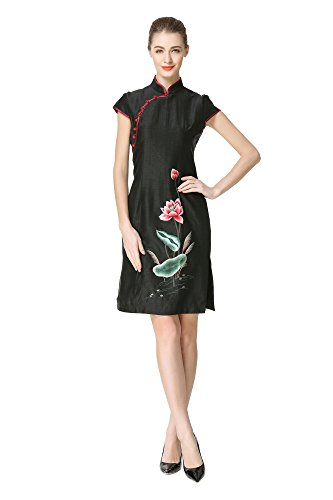 Embroidery Lotus Chinese Bitablue With Watered Silk Dress Traditional Gauze Bwz81n6