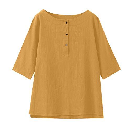 (Tantisy ♣↭♣ Women's 3/4 Sleeve Button-Down Henley Shirt Cotton Linen Summer Loose Casual Blouse Yellow)