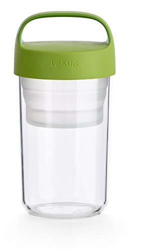Lekue Jar To Go. 2Pc Travel Jar/Container 20oz, Collapsible Silicone Insert Separates Liquid & Dry Ingredients, Green