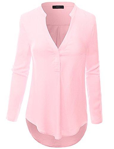 Doublju Women Stretchy V-Neck Long Sleeve Tops PINK,L